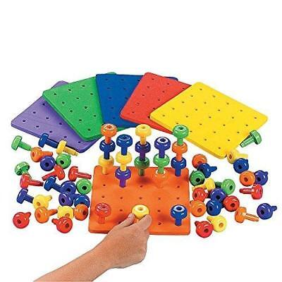 Motor Game - Stack it Peg Game With Board Occupational Therapy Autism Fine Motor Skills by