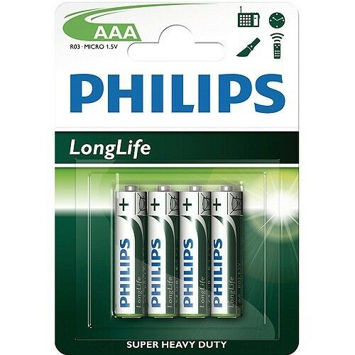 Philips 4 PACK AAA SIZE BATTERIES r03-MIICRO 1.5V