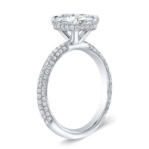 1.35 Ct. Oval Cut Micro Pave Diamond Engagement Ring GIA 100% Natural H, VS2 5