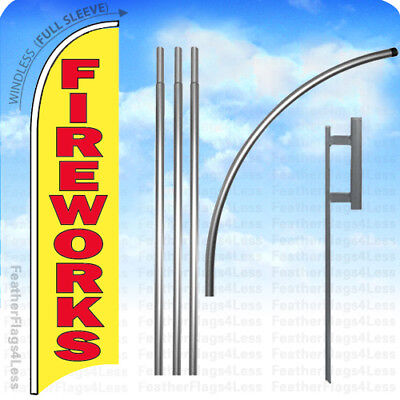 Fireworks - Windless Swooper Flag 15 Kit Feather Banner Sign - Yb