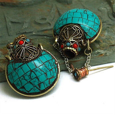 Huge Thick Tibetan 8 Turquoise Coral Gemstone Spoon Snuff Bottle Amulet Pendant