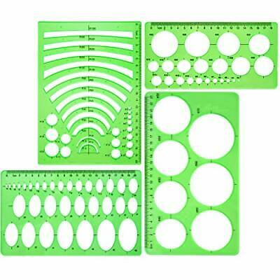 Template Plastic Rulers Circle Oval Circle Radis Drawing Templates 4 Pieces