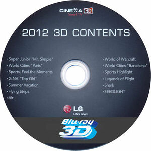 3D BLU-RAY 2012 LG DEMO DISC ****VOTED No 1 DEMO FOR POP OUT 3D****