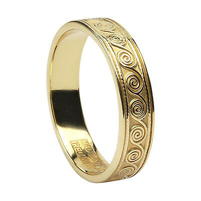 10K Yellow Gold Celtic Spiral Wedding Ring 7.5 Made in Ireland by BORU