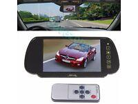 """Car Rear View 4 LED Reversing Backup Camera 170°+ 7"""" TFT LCD Monitor Mirror Kit"""