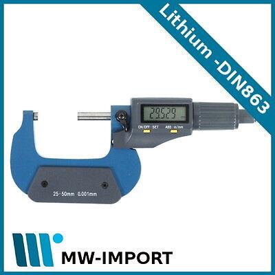 Digitale Bügelmessschraube 25-50 mm Digital Mikrometer Messchraube DIN Lithium