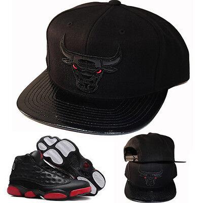 Mitchell & Ness Chicago Bulls Snapback Hat Match Air Jordan 13 Retro Black Cap