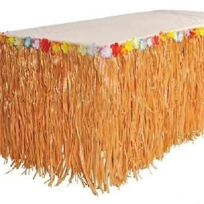 HAWAIIAN GRASS HULA TABLE SKIRT Luau Beach Party w/Tropical Leis Flowers - Hawaiian Grass Table Skirts