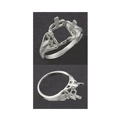 (10mm - 14mm) Square .925 Sterling Silver Ring Setting (Ring Size 7 )