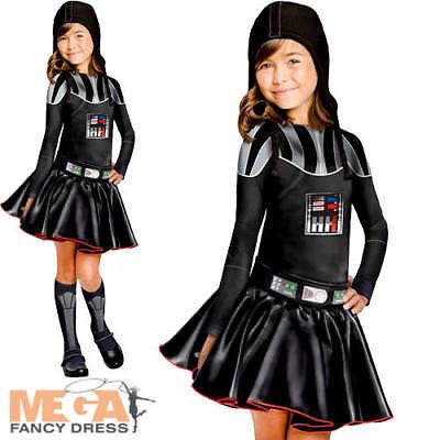 Darth Vader Girls Fancy Dress Star Wars Movie Book Week Day Childs Kids (Girls Movie Star Kostüme)