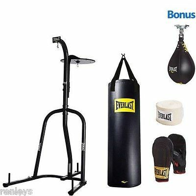 NEW Everlast Dual Station Heavy Bag Stand 100 lb Punching Bag Boxing Kit Gloves