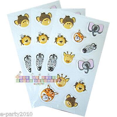 JUNGLE SAFARI ANIMALS PUFFY STICKERS (3 sheets) ~ Birthday Party Supplies Favors](Jungle Safari Birthday Supplies)