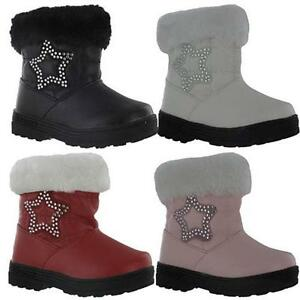 GIRLS-BIKER-BOOTS-BABIES-TODDLERS-WINTER-WARM-FUR-ANKLE-INFANTS-PARTY-SHOES-SIZE