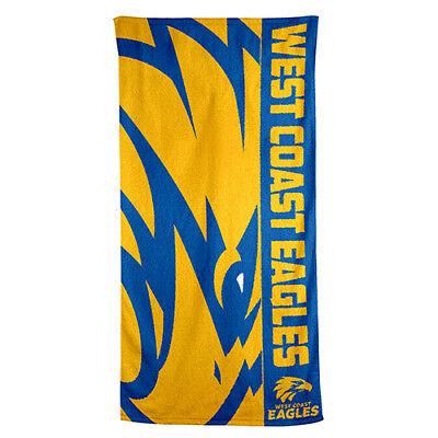 West Coast Eagles AFL Printed 75cm x 150cm Cotton Velour Beach Towel New