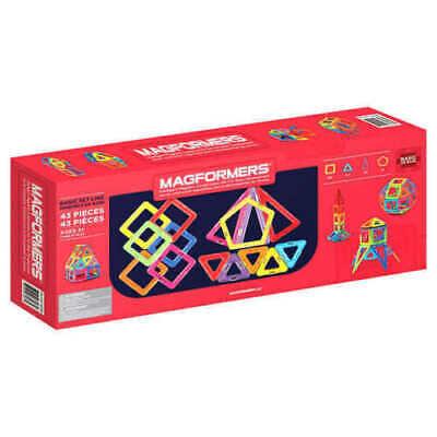 Magformers Magnetic Construction 43 Piece Set 4 Geometric Shapes Rainbow 43 Geometric Shapes