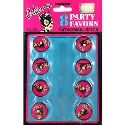 CATWOMAN VINTAGE PLASTIC RINGS (8) ~ Birthday Party Supplies Pink Favors Cupcake