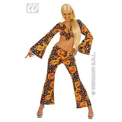 Ladies 70's Hip Chick Psychedelic Retro Disco Fancy Dress Outfit Size 10-14 - 70's Disco Chick Kostüm