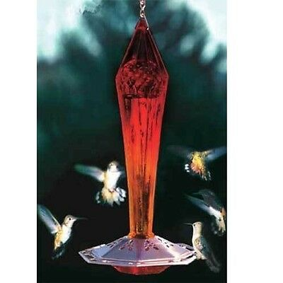 Ruby Red Faceted Blown Glass Hummingbird Feeder by Songbird Essentials SE4000