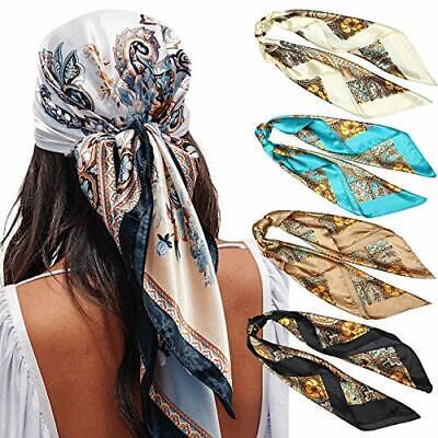 "35"" Satin Large Square Head Scarves - 4PCS Silk Like Neck Scarf Hair Sleeping Wr"