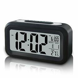 GLOUE Battery Operated Cordless Digital Alarm Clock, Smart Sensor Night Black