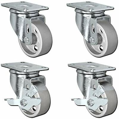 Set Of 4 All Steel Swivel Plate Caster Wheels With Brakes Locking - Heavy Duty H