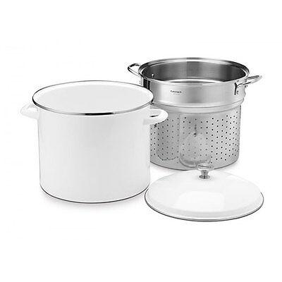 Cuisinart Chef's Classic 20 Quart Stock Pot Enamel on Steel in White w/ Strainer