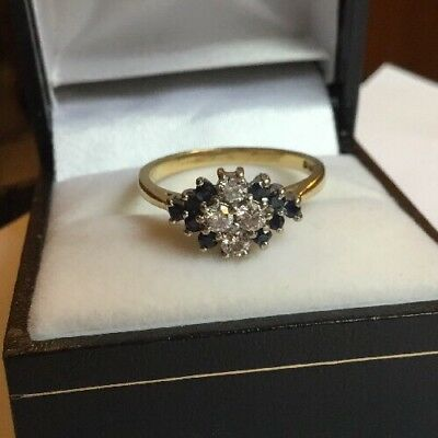 Vintage HM  18ct 18k Yellow Gold 40 Points Diamond Sapphire Cluster Ring Size O