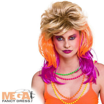 80s Cindi Wig Ladies Fancy Dress 1980s Cyndi Lauper Punk Adult Costume (Cyndi Lauper Fancy Dress Kostüm)