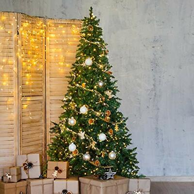 7.5 Ft Pre-lit Xmas Tree Pre-strung 1200 Led Twinkle Lights Pine Hinged Branches