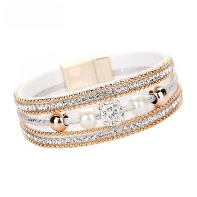 Damen Multilayer Armband Weiß Strass Glitzer Bracelet Armschmuck Magnet Geschenk