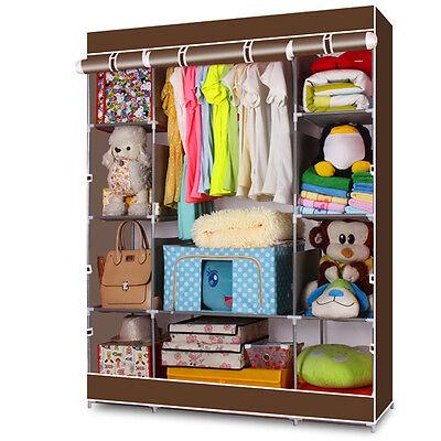 4-Layer Portable Closet Storage Organizer Wardrobe Clothes Rack With Shelves