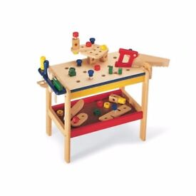 Wooden workbench with extras