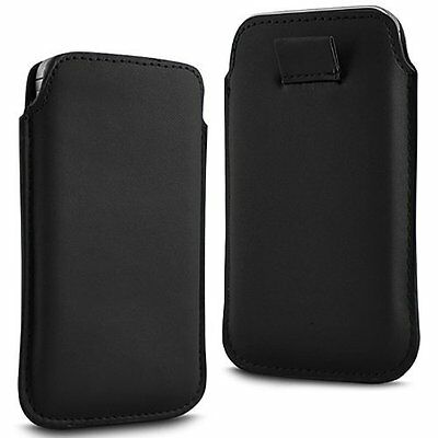 For - HTC One (E8) CDMA - Black PU Leather Pull Tab Case Cover Pouch ()