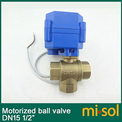 3 Way Motorized Ball Valve Dn15 Reduce Port Electric Ball Valve T Port