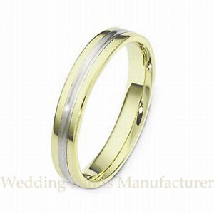 14k white yellow two tone gold wedding band mens women for Two tone wedding rings for women