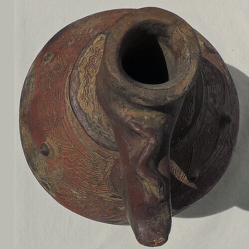 a large old antique clay terra cotta african pot congo drc #7