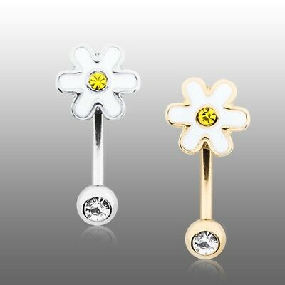 Golden Adorable Daisy Curved Barbell Eyebrow Ring Silver Yellow White -