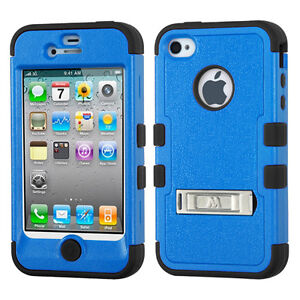 Blue on Black Tuff-Hybrid Case With Stand for iPhone 4 4S