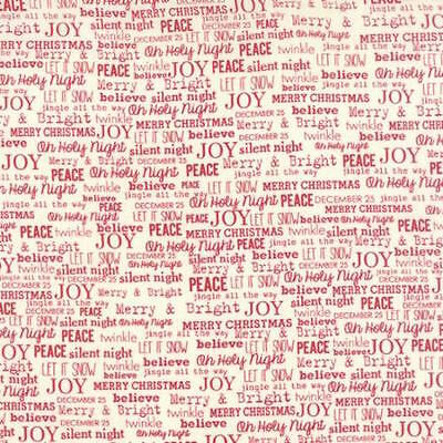 change Christmas Joy Word Print Fabric Vanilla Red 5624-12 (Christmas Cookie Exchange)