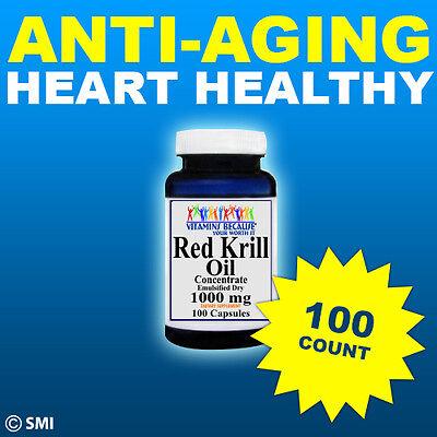 Red Krill Oil  100 Count High 1000 Mg Omega 3 Fatty Acids  Epa  Dha  Astaxanthin