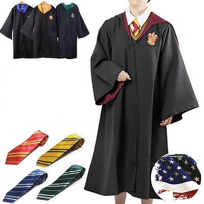 Harry Potter Cape Costume Adult Gryffindor Robe Cloak   Tie Set Cosplay Outfit