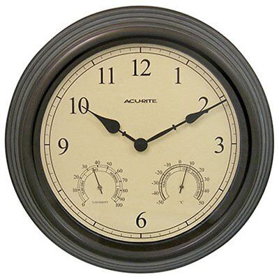 15 Inch Combo Clock w/ Thermometer & Hygrometer Copper Patina Outdoor Decoration