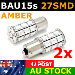 2 x BAU15S 27 SMD LED 1156PY Amber Indicator Turn Signal Light Bulb Globe 12v