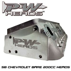 SB Chevrolet 200cc Bare Aluminum Cylinder Heads.