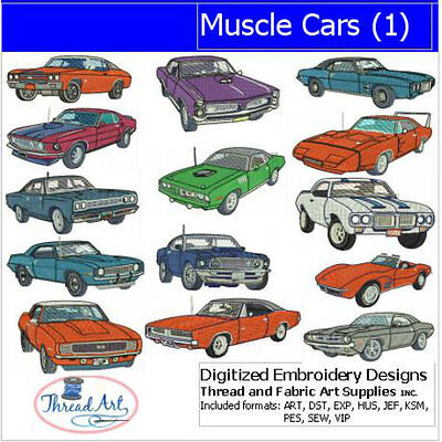 Embroidery Design Set - Muscle Cars(1) - 14 Designs - 9 Formats - USB Stick