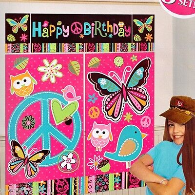 HIPPIE CHICK GIANT PLASTIC WALL DECORATING KIT (5pc) ~ Birthday Party Supplies