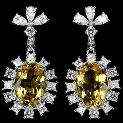 Natural 12 x 10 mm Oval AAA Yellow Citrine & Cz 925 Sterling Silver Earrings