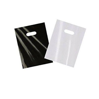 200 small glossy black  white plastic merchandise bags w/die cut handles 9x12