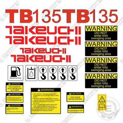 Takeuchi Tb 135 Mini Excavator Decals Equipment Decals Tb135 Tb-135 Tb135