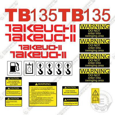 Takeuchi Tb 135 Mini Excavator Decals Equipment Decals Tb135 Tb-135 Tb135